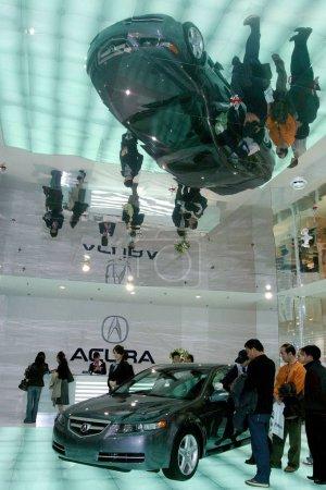 Visitors view a Honda Acura
