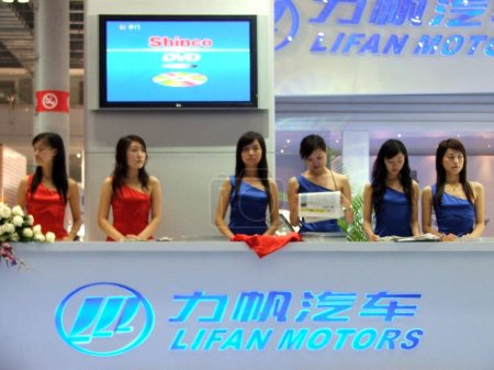 Chinese showgirls at the stand