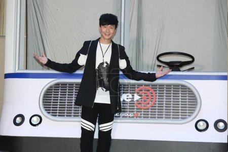 Photo pour Chanteuse singapourienne Jj Lin pose lors d'une conférence de presse pour son concert à Kaohsiung, Taiwan, 17 août 2015. - image libre de droit