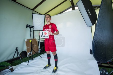 Photo for **EXCLUSIVE**Uzbek football player Odil Ahmedov of Shanghai SIPG F.C. poses during the filming session of official portraits for the 2019 Chinese Football Association Super League, in Shanghai, China, 25 February 2019. - Royalty Free Image
