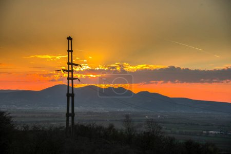 Photo for Electricity, power plant on sunset - Royalty Free Image