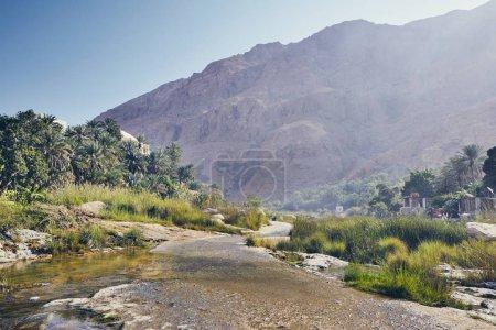 Photo pour Paysage d'Oman. Route dans le milieu de Wadi Tiwi en journée idyllique. - image libre de droit