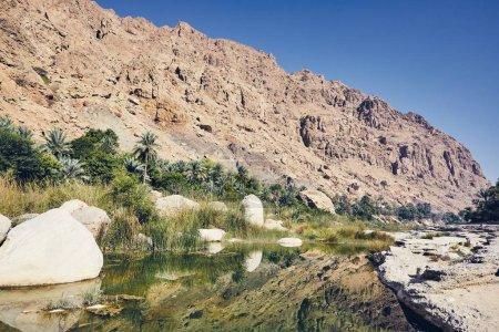 Photo pour Paysage d'Oman. Lagon au milieu de Wadi Tiwi en journée idyllique. - image libre de droit