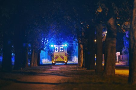 Photo for Rescue in dark city alley. Rear view of ambulance of emergency medical service against illuminated trees from blue flasher. - Royalty Free Image