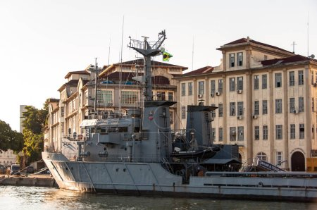 RIO DE JANEIRO, BRAZIL - MAY 17, 2018: Brazilian marine war ship anchored in Guanabara Bay at Ilha das Cobras Island