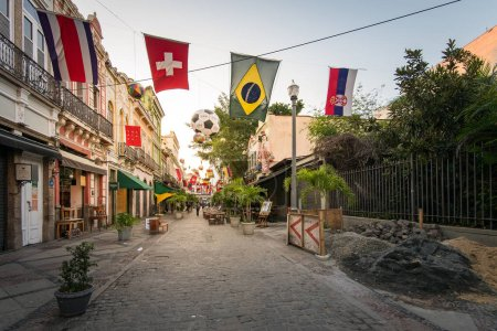 Rio de Janeiro, Brazil - June 20, 2018: Famous Lavradio street is decorated with country flags during the World Cup 2018.