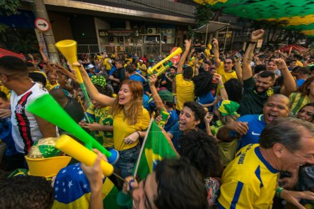 RIO DE JANEIRO, BRAZIL - JUNE 22, 2018: Brazilian fans celebrating victory against Costa Rica at 2018 FIFA World Cup