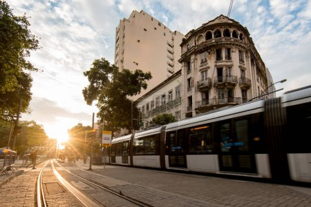 Photo for Modern Tram Passing in the Streets of Rio de Janeiro City Center - Royalty Free Image
