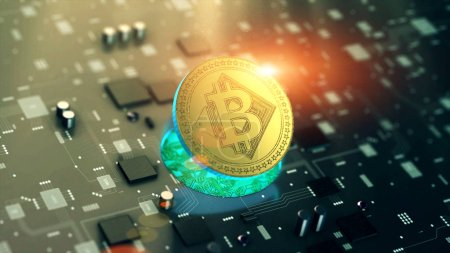 Photo for Digital cryptocurrency Bitcoin symbol on circuit board - Royalty Free Image