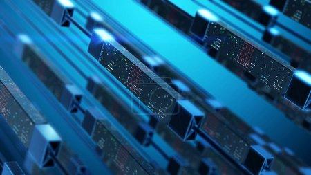 Photo pour Transfert de données dans l'espace virtuel. Concept abstrait technologique. - image libre de droit