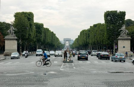 Perspective view from the Place de la Concorde on the Champs Elysees with the Arc de Triomphe