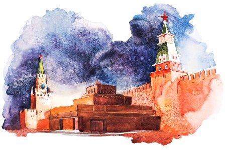Photo pour Mausolée Lénine à Moscou sur la Place Rouge Russie Aquarelle . - image libre de droit