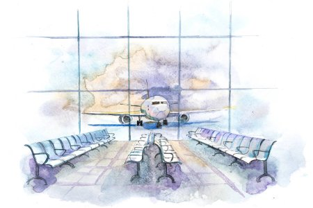 Photo pour Vue de l'aérogare au terrain de décollage avec avion. Hall d'aéroport intérieur - image libre de droit