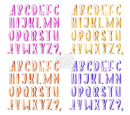Photo for Colorful watercolor aquarelle font type handwritten hand draw abc alphabet letters. - Royalty Free Image