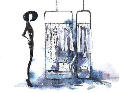 Photo pour Boutique de vêtements décontractés dans le centre commercial. Mannequins debout dans l'affichage de la fenêtre du magasin - image libre de droit