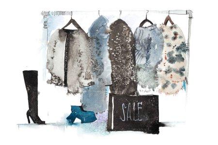 Photo pour Magasin de vêtements. Boutique avec la nouvelle collection vetement grandes tailles sur cintre - image libre de droit