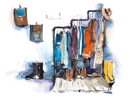 Photo pour Étagères de magasin de vêtements et l'affichage des vêtements - image libre de droit