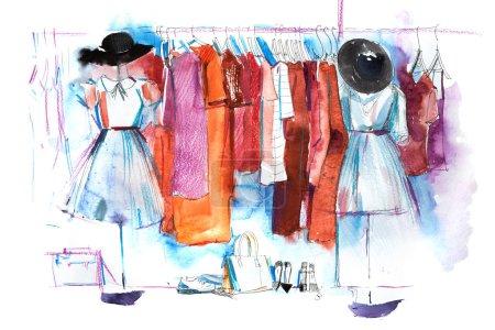 Photo pour Shopping centre commercial magasin vêtements exposition vêtements présentoir porte-vêtements aquarelle . - image libre de droit