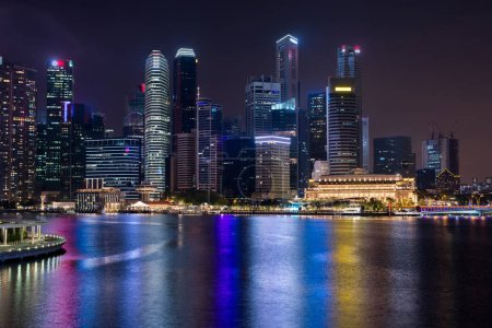 Photo for Cityscape downtown. Night city urban skyline Singapore. - Royalty Free Image