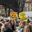 Protestors with banners at a Youth strike for clim...