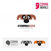 Dog animal concept icon set and modern brand identity logo template and app symbol based on comma sign