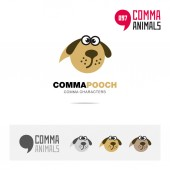 Pooch animal concept icon set and modern brand identity logo template and app symbol based on comma sign