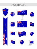 Australia Flat Flag Collection Flat flags vector illustration