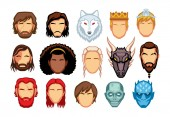 Vector Cartoon Set Of Medieval Fantasy Characters Isolated