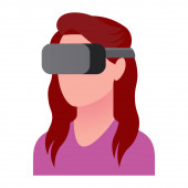 Character Using Virtual Reality Device Isolated