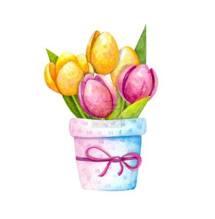 Photo pour Illustration aquarelle - un beau bouquet de tulipes orange, jaune et rose dans un pot de fleurs décoratif avec arc. Délicat printemps, fleurs de Pâques. Objets isolés sur fond blanc . - image libre de droit