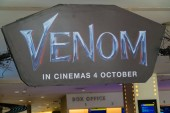 KUALA LUMPUR, MALAYSIA - SEPTEMBER 29, 2018: Venom movie poster, this movie is about Eddie Brock acquires the powers of a symbiote, and become Venom