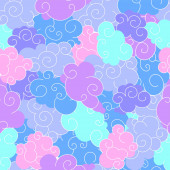 Funny cartoon seamless pattern of clouds of different shapes with beautiful curves and shapesTight pattern without gaps for a childrens print and to create flat style illustration Blue pink purple