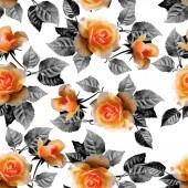 """Постер, картина, фотообои """"Бесшовный розовый цветок шаблон с дизайном листьев"""""""