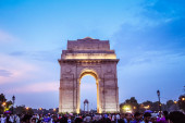 India Gate, New Delhi, March-2019: It is a triumphal arch architectural style war memorial designed by Sir Edwin Lutyens to 82,000 soldiers of the Indian Army who died in the First World War