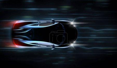 Photo pour Noir générique voiture de luxe, illustration 3d - image libre de droit
