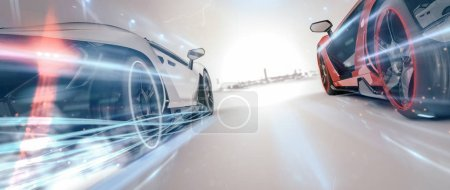 Photo for Fast luxury modern cars, 3d illustration - Royalty Free Image