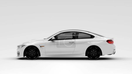Photo pour Voiture de luxe générique blanche, illustration 3D - image libre de droit
