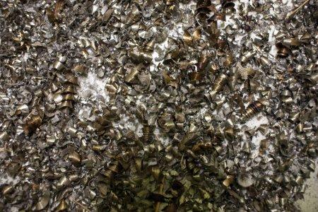 Close-up of metal shavings in metallurgy...