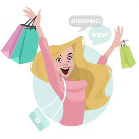 Happy shopper. The girl holds packages. Big Sale. ...