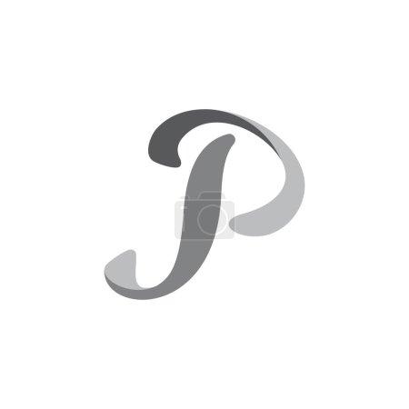 Letter p 3d curves gradient flat logo vector...