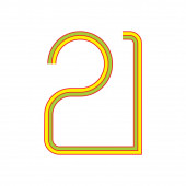 number 21 stripes line design symbol vector