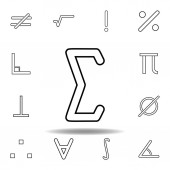 sigma sign icon Thin line icon for website design and development app development Premium icon on white background