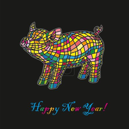 Beautiful colored pig isolated on black background, stylized of Mosaic. Happy New Year. Chinese symbol of the 2019 year. Excellent festive gift card. Vector illustration on black background.