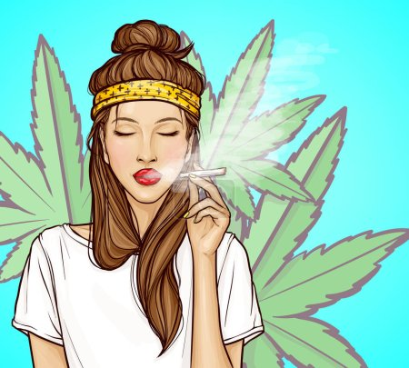 Pop art young woman with closed eyes smoking herba...