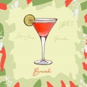 Bacardi cocktail illustration Alcoholic classic bar drink hand drawn vector Pop art