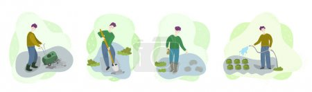 Steps of organic growing vegetables on field. Men cultivate soil, dig hole, sow seeds, watering. Season agriculture harvest work scene set. Isolated flat trendy cartoon Illustration collection