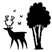 Silhouette of deer butterflies and birch on a white background