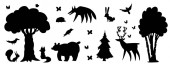 Silhouette of forest animals and forest Bear wolf bear fox hare squirrel hedgehog deer butterflies birch oak fir-tree fir-tree bird crow