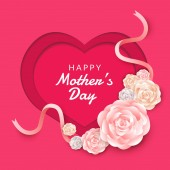 Happy mother's day layout design with roses lettering paper cut and texture background Vector illustration
