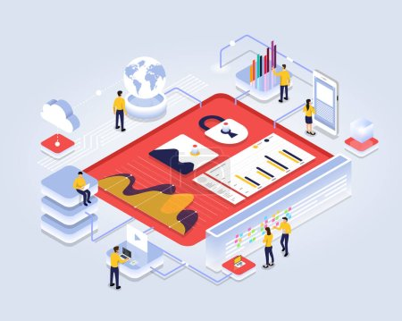 Illustration for Isometric design concept people interactive working analyzing statistics. Data visualization 3d object. Vector illustrations. - Royalty Free Image